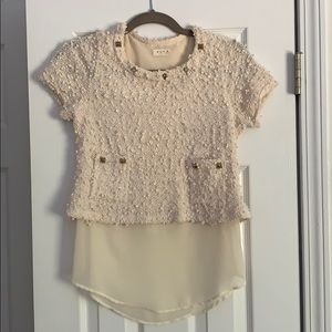 BLVD knit and silky shirt